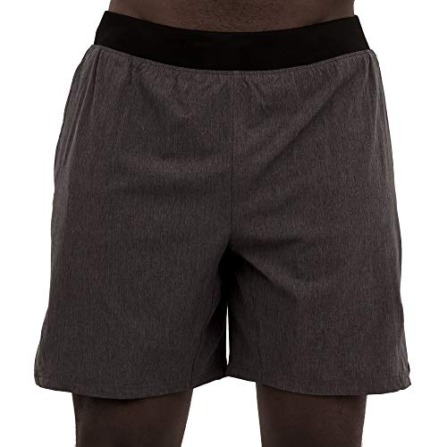 Skora Men's Two in One Athletic Running Shorts 7 Inch Inseam with Side Pockets and Zip Back Pocket (Dark Charcoal Chambray/Black, Medium)