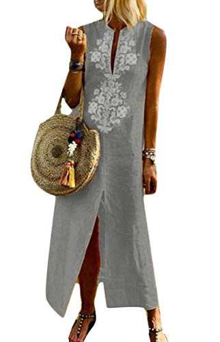 Joe Wenko Womens Printed V Neck Linen Sleeveless Casual Slit-Front Long Dress Grey L