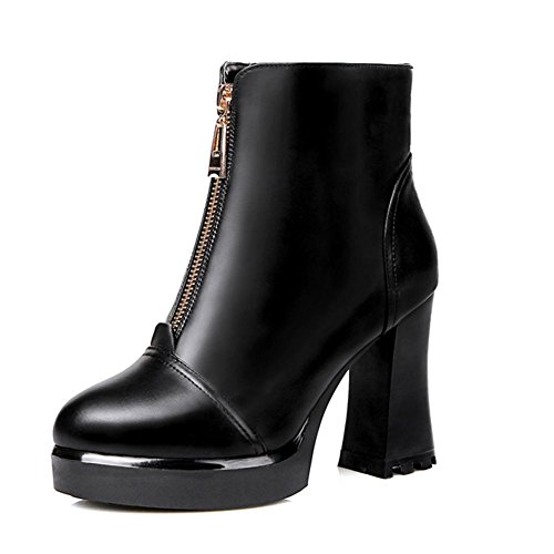 de de a desgaste la delantera cremallera tacón negro 37 de HCuatro resbalón de botas XIAOGANG corto mujeres resistente estaciones las de H goma cuero qTfRtf
