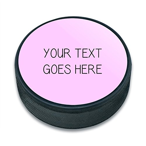 Hockey Personalized Pucks (Graphics and More Personalized Custom Pink Background Any Occasion Ice Hockey Puck)