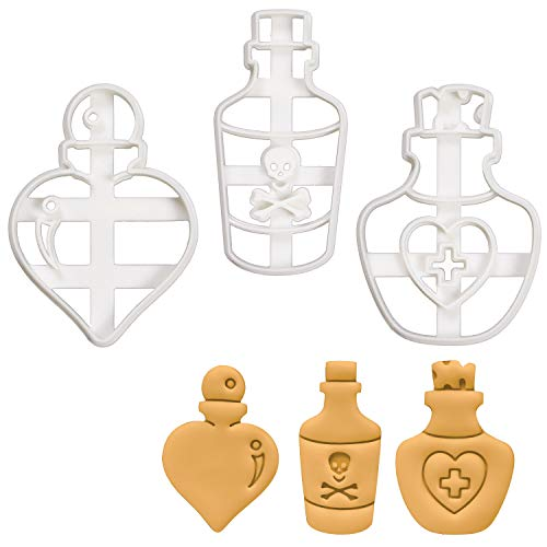 Set of 3 Potion Bottle cookie cutters (Designs: Love, Poison, and Health), 3 pieces - Bakerlogy