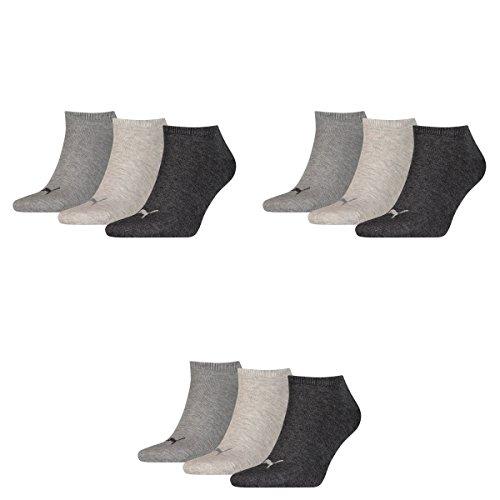 9 pair Puma Sneaker Invisible Socks Unisex Mens & Ladies 800 - anthraci/l mel grey/m me