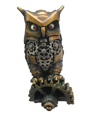 Gear Spy Covert (Ebros Steampunk Owl Statue Nocturnal Messenger Spy Cyborg Owl Decorative Paperweight Figurine 6.75