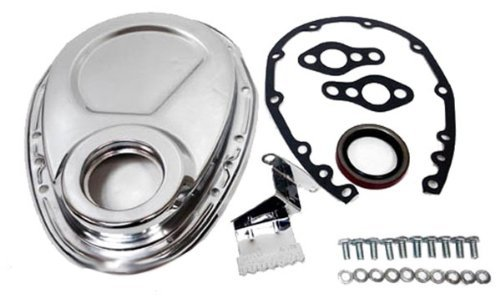 1955-95 Compatible/Replacement for Chevy Small Block 283-305-327-350-400 Steel Timing Chain Cover Set w/Timing Tab - Chrome