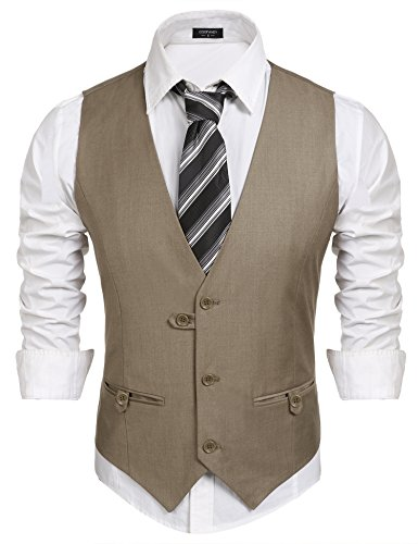 COOFANDY Mens Business Suit Vest Slim Fit V-Neck Sleeveless Waistcoat Khaki Medium