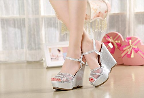 Heel BaiLing thick shoes small bottom Black summer Wedge Net yarn Rhinestones Women's sandals waterproof size 0qIqnrZ4