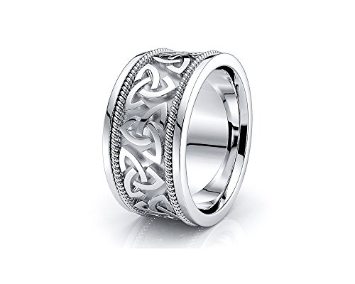 10K White Yellow Gold Trinity Celtic Knot Wedding Band Rings