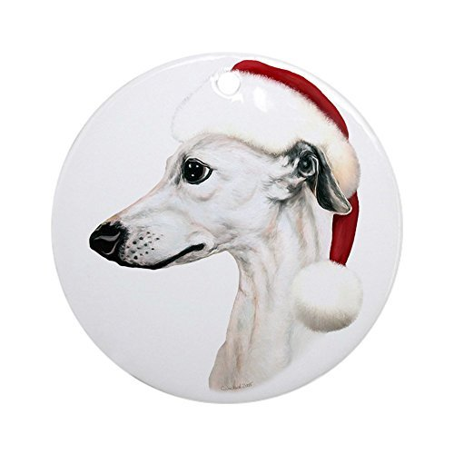 Louis White Whippet Santa Ceramic Ornament 3 inch Round Holiday Christmas -