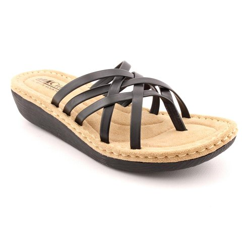 White Mountain Chopstick Womens Size 5.5 Black Open Toe Wedge Sandals Shoes