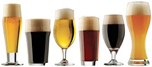 Various craft beer glass designs lined up