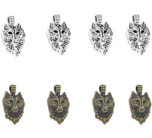 30pcs Vintage Antique Silver Alloy Animal Wolf Head Charms Pendant Jewelry Findings for Jewelry Making Necklace Bracelet DIY 33x18mm (30pcs Wolf)