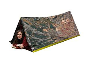 Emergency Survival Mylar Thermal Reflective Cold Weather Shelter Tube Tent - XL SIZE Fits 2 Adults - 8' X 3'