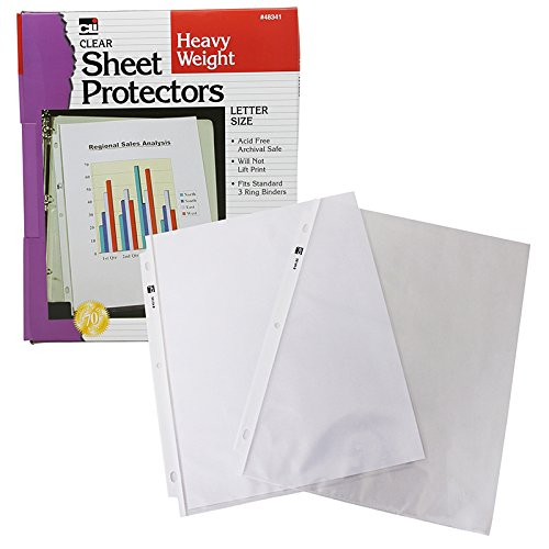Charles Leonard Sheet Protectors, Top Loading with Binder Holes, 3.3 Mils Heavy Weight, Letter Size, Clear, 100-Pack (48341)