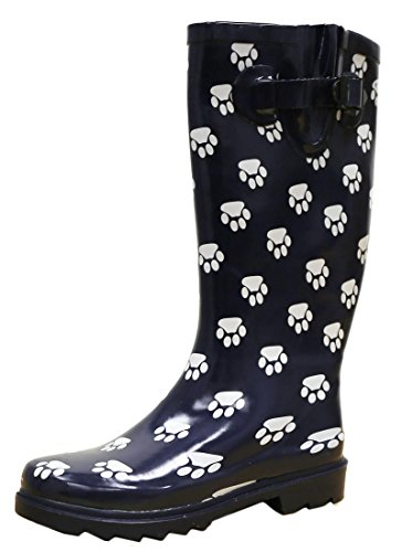Print Wellies - Cambridge Select Women's Pattern Print Colorful Waterproof Welly Rain Boots,6 M US,Blue/White Paw