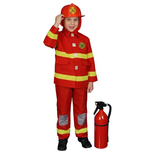 Dress Up America Boy Fire Fighter Costume - Red - Size Toddler T2
