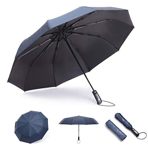 (Rechar Auto Compact Travel Totes Umbrella 2019 Design Windproof, Reinforced Canopy, Ergonomic Handle Umbrellas for Men&Women (Embossing Blue))
