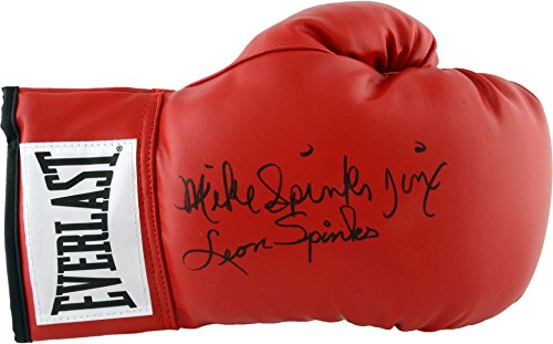 Leon Spinks and Michael Spinks Autographed Red Everlast B...