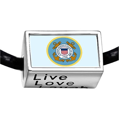 Silver Plated Character Coast Guard Photo Live Love Laugh Charm Beads (Coast Guard Charm)