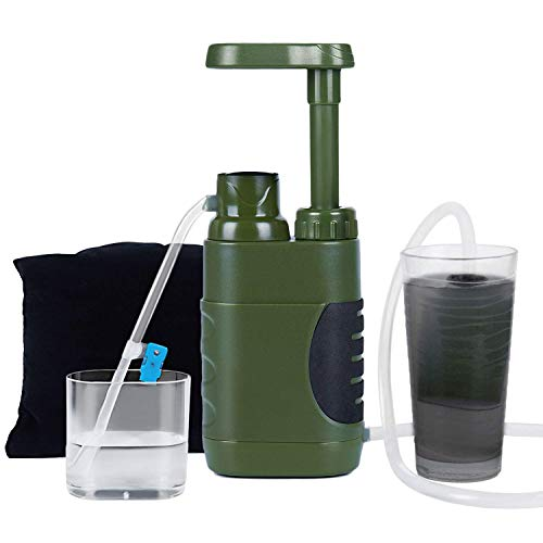 Yaegoo Portable Water Purifier Pump with Replaceable Carbon 0.01 Micron -Virus and Heavy Metal Tested Water filter, 4 Filter Stages, Portable Outdoor Emergency and Survival Gear - Camping, Hiking by Yaegoo
