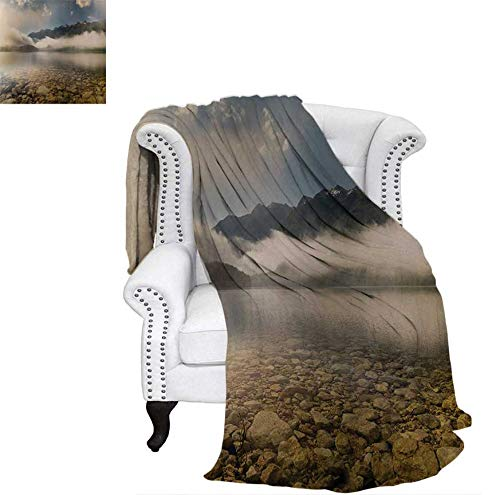 Digital Printing Blanket Alpine Lake with Stones Rocks in Crystal Water with Misty Fogy Clouds Image Lightweight Blanket 80
