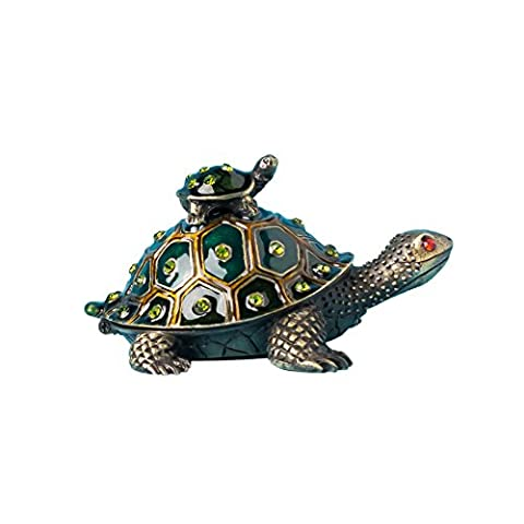 Fine Pewter Trinket Jeweled Boxes With Turtle Mom With Turtle Baby Jewelry Box W/ Crystals Decorated Trinket Box Lucky Box with Gift Box - Turtle Hinged Trinket Box