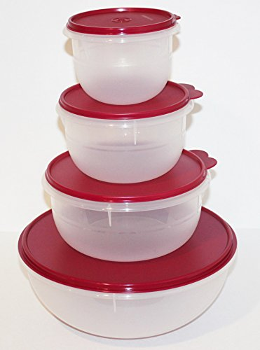 Vineyard Salad - Tupperware Bowls Set of 4 Classic Flat-Bottom Mixing, Salad, Dough Bowls with Liquid and Airtight Seals in Vineyard