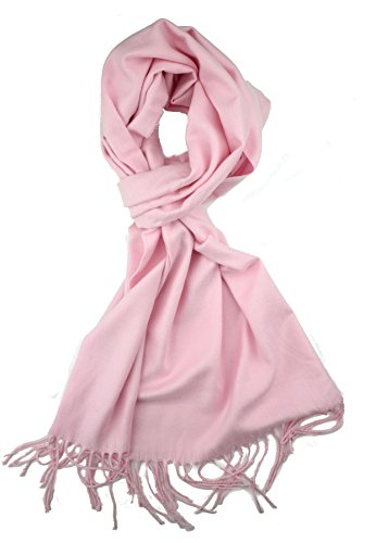 Plum Feathers Plaid Check and Solid Cashmere Feel Winter Scarf Light Pink