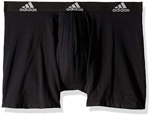 adidas Men's Stretch Cotton Boxer Briefs Underwear (3-Pack), Black/Black Black/Black Black/Black, Small