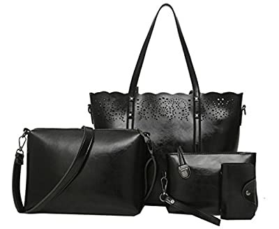 Juilletru 4 Pcs Women's Tote Bags Leather Handbags Top Handle Vintage Purse Crossbody Shoulder Bag Set