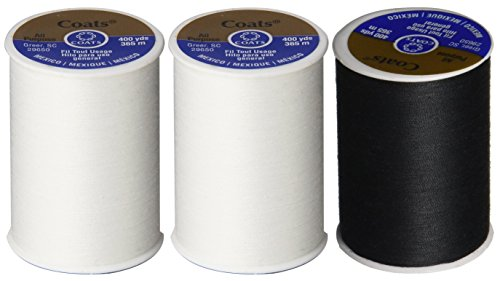 3-Pack -2 WHITE & 1 BLACK - Coats & Clark Dual Duty All-Purpose Thread - 2 White plus 1 Black Spools, 400 Yard Spool each.