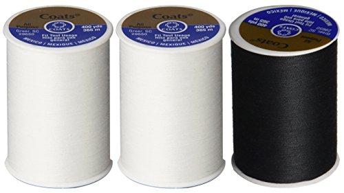 3-Pack -2 WHITE & 1 BLACK - Coats & Clark Dual Duty All-Purpose Thread - 2 White plus 1 Black Spools, 400 Yard Spool each. ()