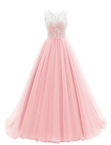 JAEDEN Una l¨ªnea Tul Vestidos de baile largo Vestido de fiesta Vestido de dama de honor Rosa