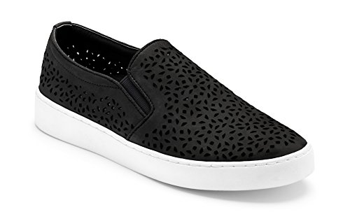 Vionic Women's Splendid Midi Perf Slip-on - Ladies Sneakers with Concealed Orthotic Arch Support Black 7.5 M US (Leather Gore Side)
