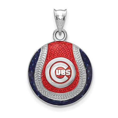 MLB Chicago Cubs Sterling Silver Chicago Cubs in Circle Enameled Baseball Pendant Size One Size
