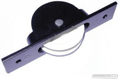 Pulley Cast (44mm Single Nylon Wheel Semi-concealed Cast Axle Pulley - Black by Perry Hinges)