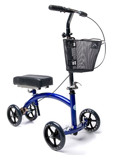 KneeRover Deluxe Steerable Knee Cycle Knee Walker  Scooter Crutch Alternative in Blue (Best Crutches For Foot Surgery)