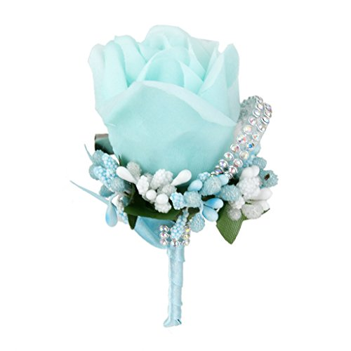 Groom boutonniere amazon wedding bridal men groom crystal boutonniere corsage rose silk flower 6 colors skyblue mightylinksfo