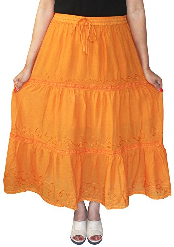 Maple Clothing - Falda - con volantes - Básico - para mujer naranja