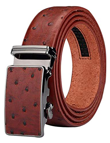 Ostrich Skin Boots - Men's Belt Ratchet Leather Dress Belt with Automatic Buckle 35mm Wide 27