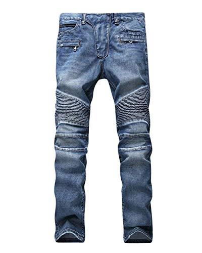 ADELINA Pantalones De Mezclilla De Moto Hombre para De Pantalones Biker Ropa Mezclilla Desgastados Desgastados Ufig Pantalones De Mezclilla Pitillo para Pantalones Ajustados Blau