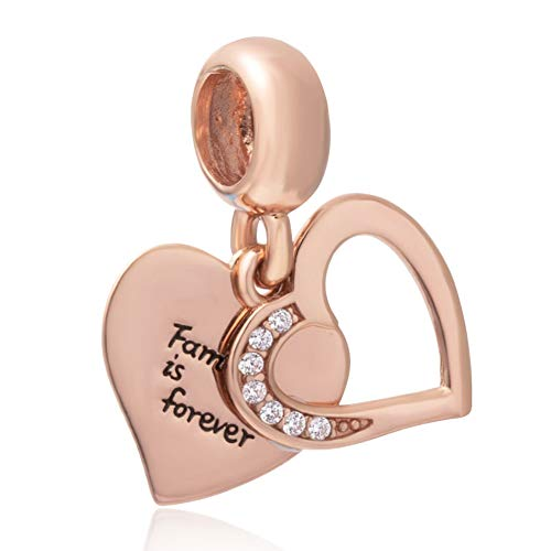 Emostar Family Charm Sterling Silver Family Forever Charm Heart Pendant Charm Rose Gold Charm for Bracelets Necklaces Jewelry Making (Family Forever Charm)