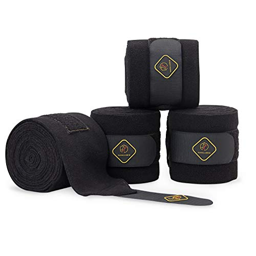 Kavallerie Classic Bandage for Horses, Distributes Pressure Evenly with Therapeutic Breathable Fleece Material, Stretchy, Provides, Leg Protection and Support - Black - (4 Units per Pack)