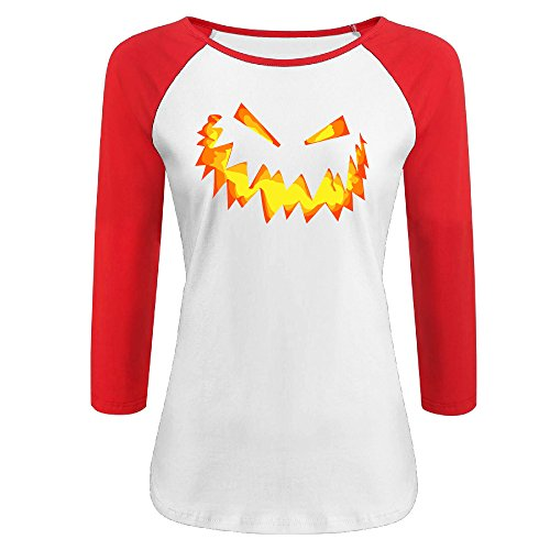 Women's Happy Halloween Day 100% Cotton 3/4 Sleeve Athletic Baseball Raglan T-Shirt Red US Size (Manziel Johnny Halloween)