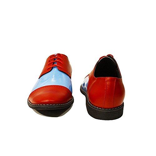 PeppeShoes Modello Paolo - Handmade Italiano da Uomo in Pelle Rosso Scarpe da Sera - Vacchetta Pelle di Brevetto - Allacciare