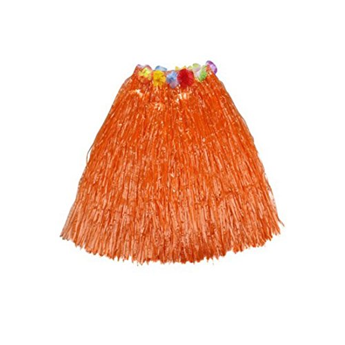[Kid's Plastic Luau Hula Skirts Floral Waistbands Party Skirts Artificial Grass (Orange)] (Tahitian Dancers Costumes)