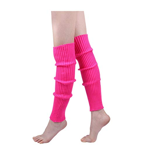 Womens 80s Ribbed Leg Warmers - Juniors 80s Eighty's Knitted Crochet Long Sock Yoga Sport Ballet Accessories -