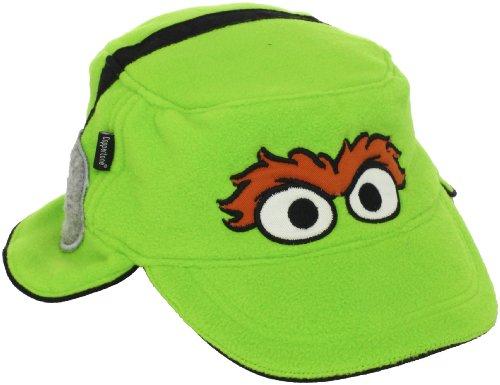 UPF 50+ Coppertone/Sesame Street UV Headwear Little Boys' Oscar Fleece Engineer Hat With Ear Flaps, Oscar Green, Large ()