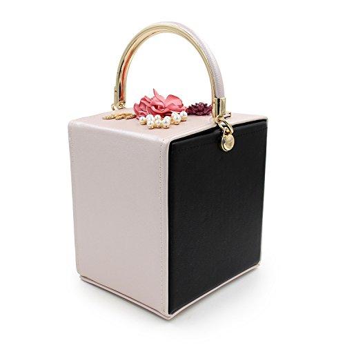 Beige Black TuTu Clutch Sacs de Sacs Femme Soirée Perle Fleur Embrayage Main à Mariage Sacs de Cristal Cuir TaqTA
