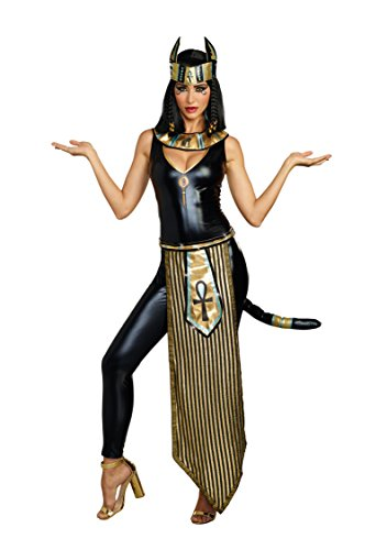 Dreamgirl Women's Egyptian Kitty of De Nile Sexy Costume Jumpsuit, Black, Medium
