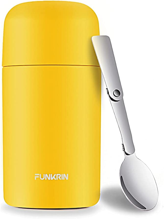 Funkrin Insulated Lunch Container, 16oz Thermos for Hot Food, Hot Cold Food Jar Container, Vacuum Stainless Steel Bento Lunch Box With Spoon, Leak-Proof Soup Thermos For School Office Outdoors